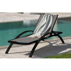Chaise longue BARCELONA avec 2 roulettes, en textilène gris et aluminium – GRIS ANTHRACITE