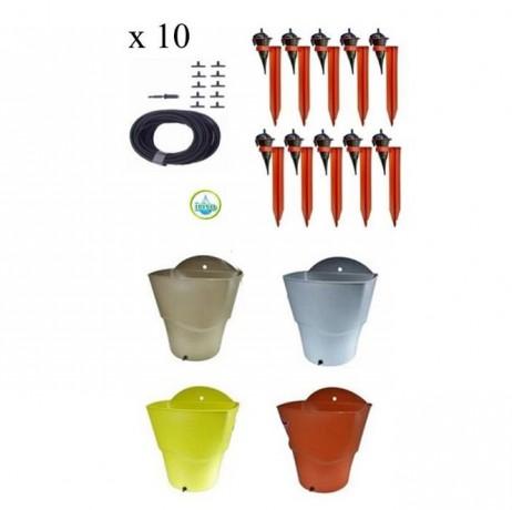 Kit 10 Goutteurs avec supports Iriso + 1 Réserve d'eau 12L