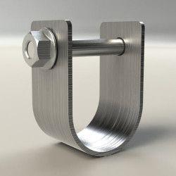 Collier U de 38 mm + boulon 8 X 70 mm + écrou 8 mm