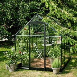 La serre de jardin en verre trempé offre une pénétration maximale de la lumière et retient bien la chaleur du soleil. Son verre est 7 fois plus résistant que le verre horticole et est très sécurisant.